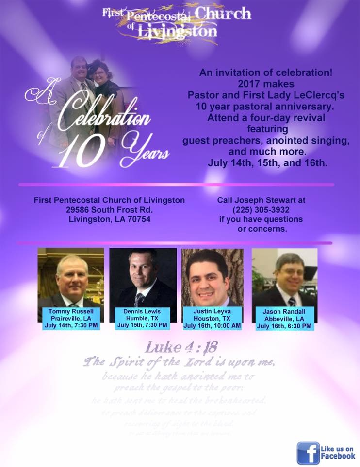 10 Year Pastoral Anniversary Flyer